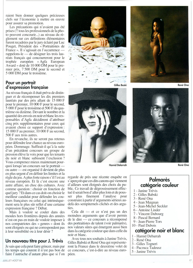 articles de presse du agfa europeen award 1993
